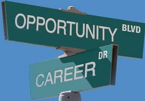 Street signs representing Career Opportunity