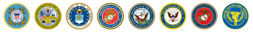 U.S. military emblems for each of the eight branches of service