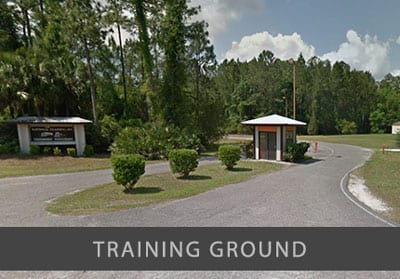 Entrance to the National Truck Driving School Training Grounds, a 350-acre complex of classrooms, maintenance shops, and an exclusive, 1 1/4-mile private training track